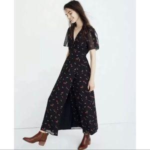 Madewell tulip sleeve maxi dress Black Floral 10